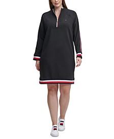 Plus Size Funnel-Neck Striped-Trim Dress