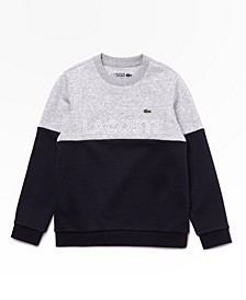 Big Boys Sport Long Sleeve Crew Neck Brushed Fleece Sweater