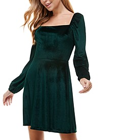 Juniors' Velvet Fit & Flare Dress