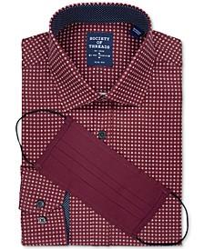 Men's Slim-Fit Non-Iron Performance Stretch Burgundy Geo-Print Dress Shirt and Mask
