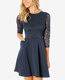 Juniors' Lace Scuba Fit & Flare Dress