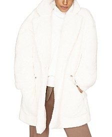 Drawstring-Waist Faux-Fur Coat