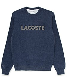 Men's Regular Fit Crew Neck Fleece Sweatshirt with Lacoste Herringbone Logo
