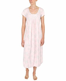 Etched Floral Long Knit Nightgown