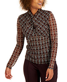 INC Printed Twist-Neck Top, Created for Macy's