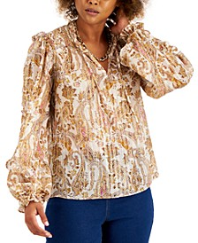 INC Paisley-Print Chiffon Peasant Top, Created for Macy's