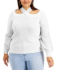 Trendy Plus Size Off-The-Shoulder Sweater