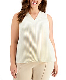 Plus Size Accordion-Pleat Blouse, Created for Macy's