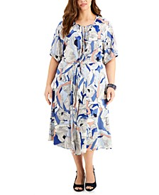 Plus Size Twist-Front Midi Dress, Created for Macy's