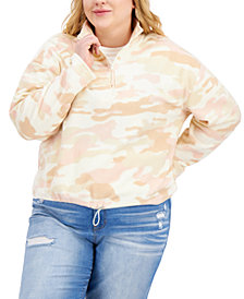 Planet Gold Trendy Plus Size Printed Fleece Top