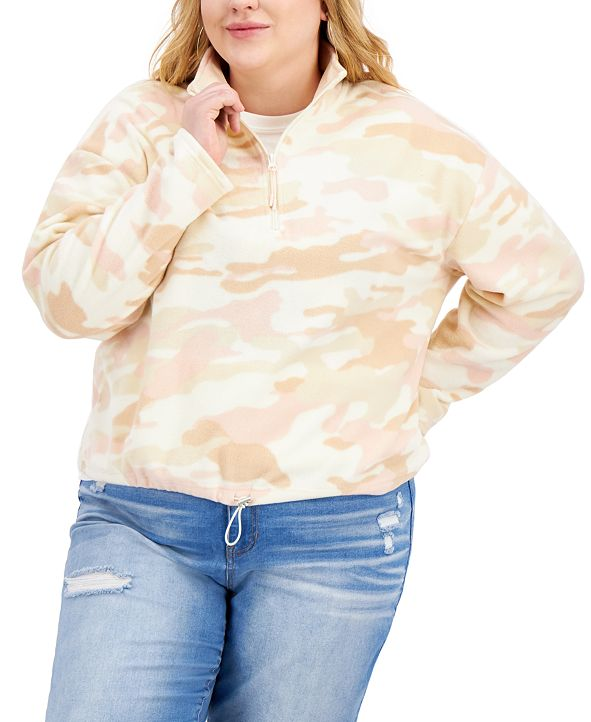 Planet Gold Trendy Plus Size Printed Fleece Top