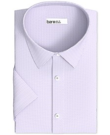 Men's Slim-Fit Performance Stretch Textured Geo Short Sleeve Dress Shirt, Created for Macy's