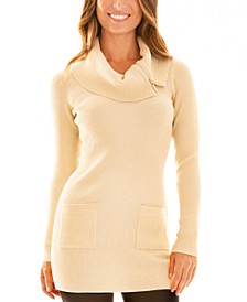 Juniors' Cowl-Neck Zip-Detail Sweater Dress
