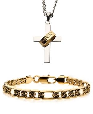 Men's Cross Necklace and Figaro Chain Bracelet Set
