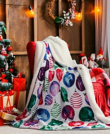 Christmas Ornaments Sherpa Throw