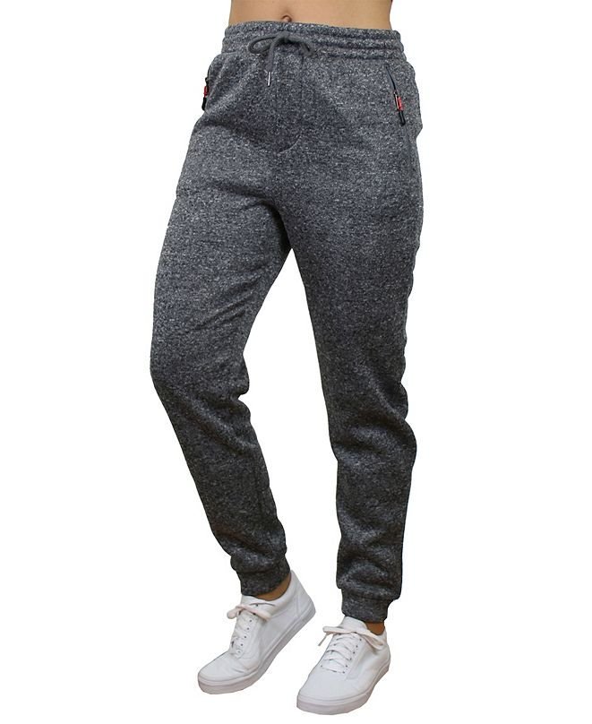 Galaxy By Harvic Women's Loose Fit Marled Fleece Joggers with Zipper Side Pockets
