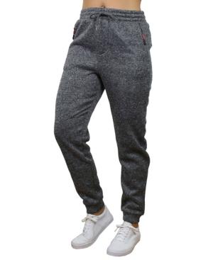 Women's Loose Fit Marled Fleece Joggers with Zipper Side Pockets
