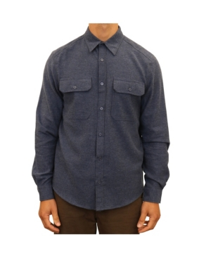 Men's Vintage Workwear Inspired Clothing Mountain and Isles Mens Chambray Flannel Two Pocket Button Down Shirt $41.99 AT vintagedancer.com