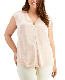 Plus Size Pleat-Front Blouse, Created for Macy's