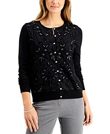 Embroidered Velvet-Front Cardigan, Regular & Petite Sizes, Created for Macy's