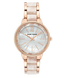 Rose Gold-Tone and Pearlescent White Bracelet Watch 37mm