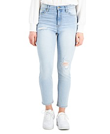 Juniors' High-Rise Distressed Slim-Straight Jeans