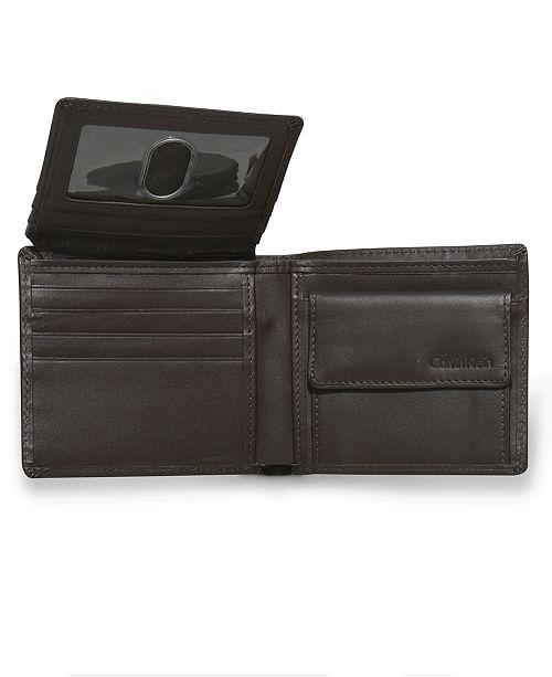 8dd613adc73 Calvin Klein Leather Coin Pocket Bifold Wallet with Key Fob ...