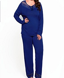 Women's Plus Size Lounge Pant Set Trimmed in Breezy Laced Patterns
