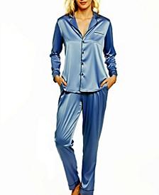 Women's Notch Collar Pajama Pant Set