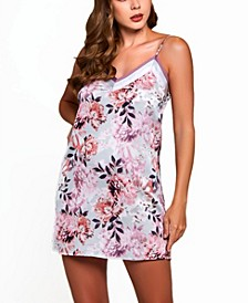 Women's Floral Mini Chemise with Contrast Trims