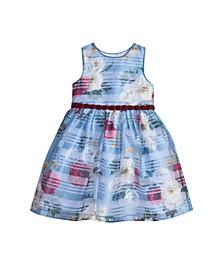 Toddler Girls Floral Shadow Stripe Dress