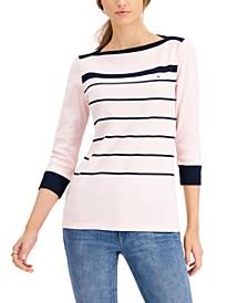 Cotton Striped Boat-Neck Top