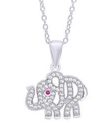 Cubic Zirconia Elephant Pendant Necklace in Fine Silver Plate