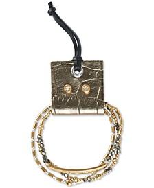 Two-Tone 4-Pc. Set Pavé Beaded Stretch Bracelets & Stud Earrings