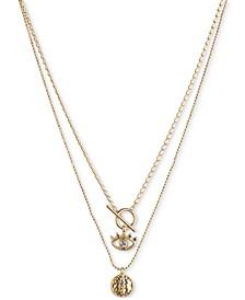 Gold-Tone 2-Pc. Set Pavé Lotus & Evil Eye Pendant Necklaces