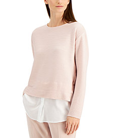 Alfani Layered-Look Colorblocked Top, Created for Macy's