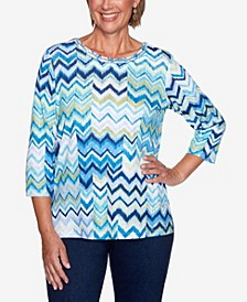 Women's Missy Vacation Mode Chevron Patch Knit Top