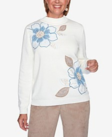 Women's Missy Dover Cliffs Asymmetric Floral Embroidery Sweater