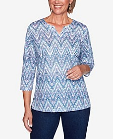 Women's Missy Long Weekend Watercolor Textured Print Top