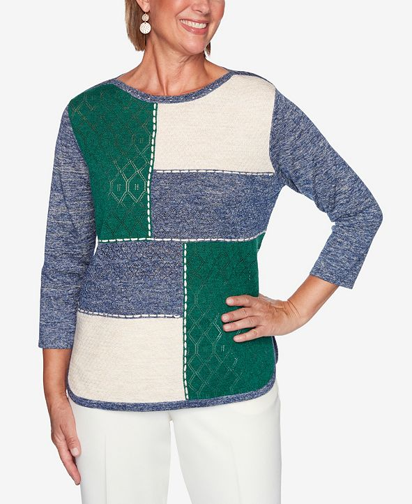 Alfred Dunner Women's Missy Hunter Mountain Embellished Colorblock Sweater