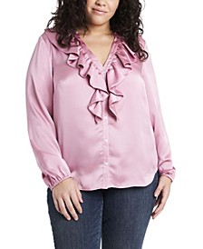 Women's Plus Size Ruffle Neck Button Front Top