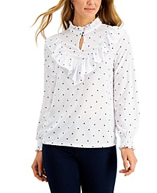 Printed Clip-Dot Ruffled Knit Top, Created for Macy's
