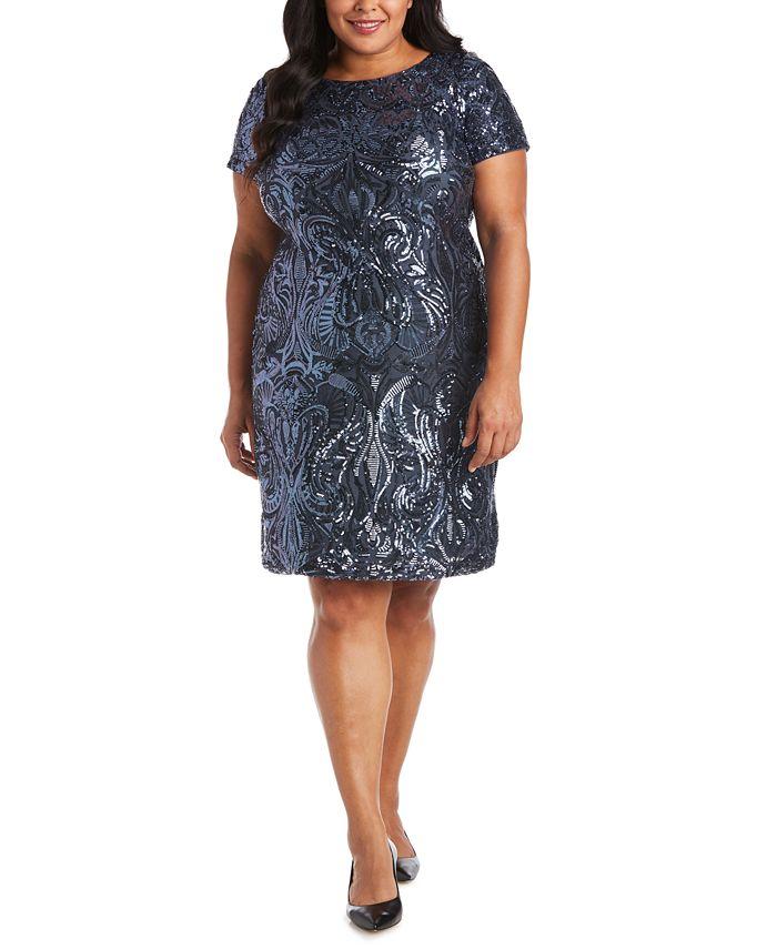 R & M Richards - Plus Size Sequin Sheath Dress