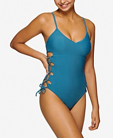 Juniors' Lace-Up One-Piece Swimsuit, Created for Macy's