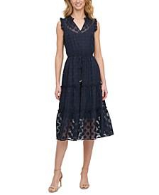 Petite Sheer Dot Midi Dress