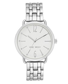 Women's Crystal Accented Silver-Tone Bracelet Watch, 36mm