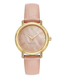 Women's Crystal Accented Gold-Tone and Light Pink Croco-Grain Strap Watch, 35mm