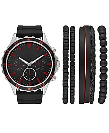 Men's Black Silicone Strap Watch 50mm Gift Set