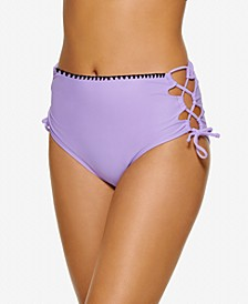 Juniors' Zig-Zag Zinc Cheeky High-Waist Bikini Bottoms, Created for Macy's