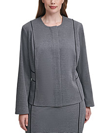 Calvin Klein Plus Size Micro-Checkered Jacket